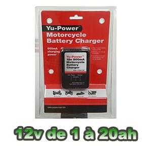 Chargeur YUASA YU-POWER spécial batterie moto 0.9A YPC09A12MC
